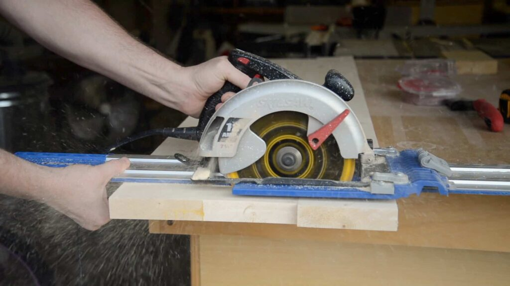 Trimming the top with a circular saw