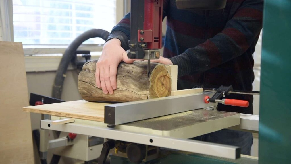 shop jig for cutting slices of a tree limb