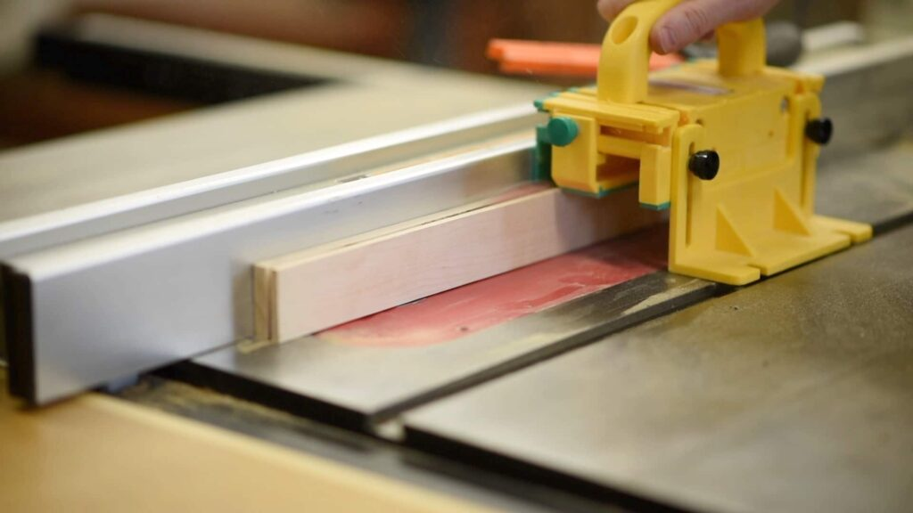 ripping a miter bar on the table saw